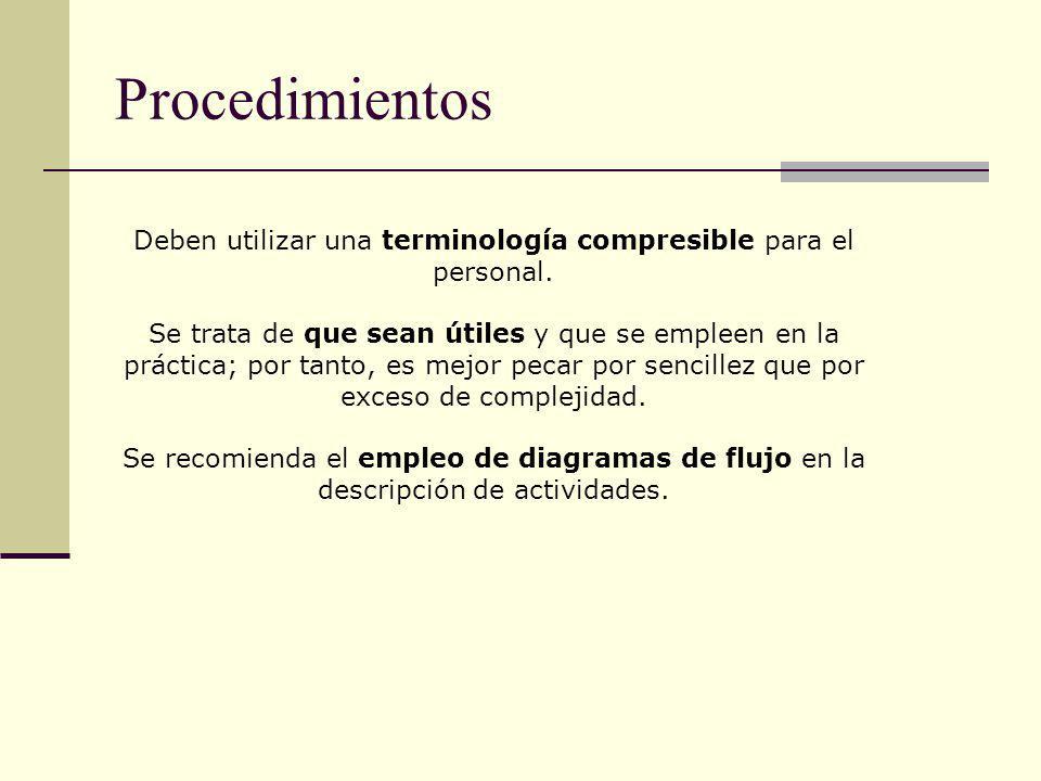 Procedimientos Deben utilizar una terminología compresible para el personal. Se trata de que sean útiles y que se empleen en la práctica; por tanto, e