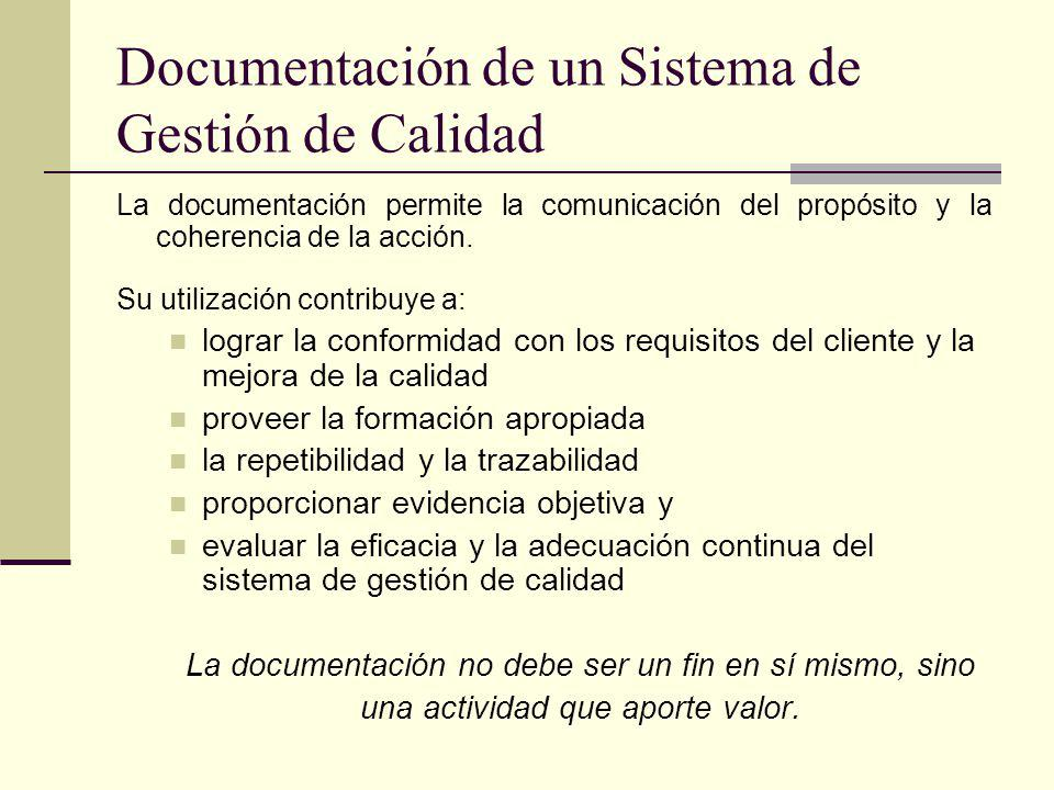 Documentación de un Sistema de Gestión de Calidad La documentación permite la comunicación del propósito y la coherencia de la acción. Su utilización