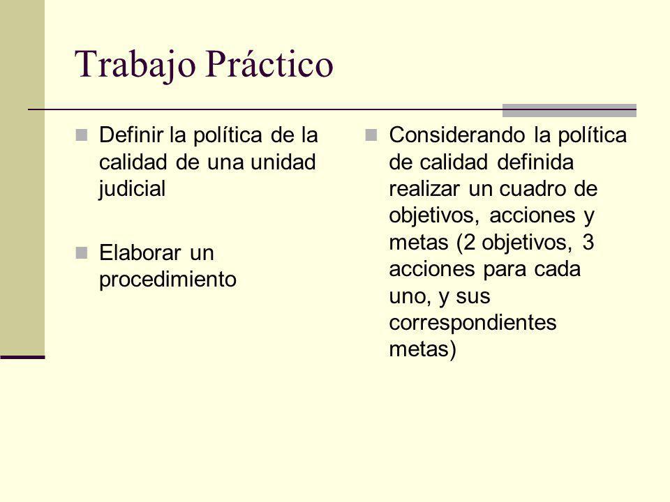 Trabajo Práctico Definir la política de la calidad de una unidad judicial Elaborar un procedimiento Considerando la política de calidad definida reali