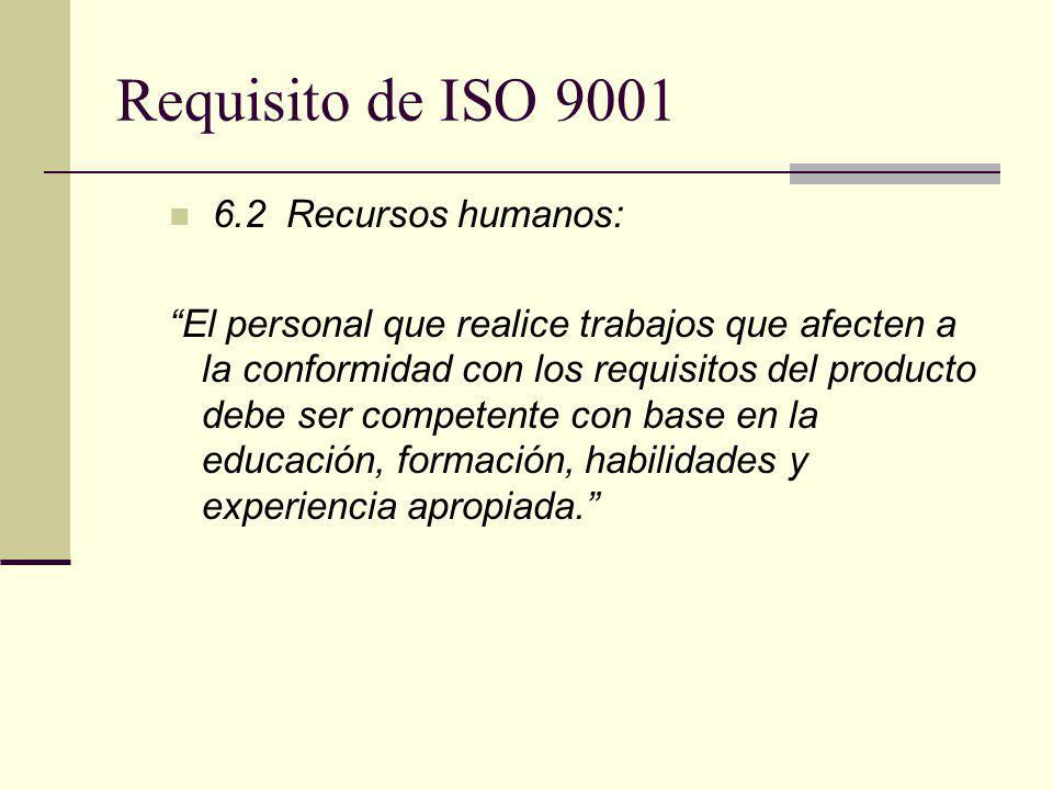 6.2 Recursos humanos: El personal que realice trabajos que afecten a la conformidad con los requisitos del producto debe ser competente con base en la