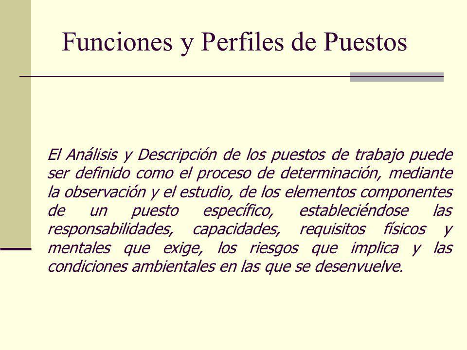 Funciones y Perfiles de Puestos El Análisis y Descripción de los puestos de trabajo puede ser definido como el proceso de determinación, mediante la o