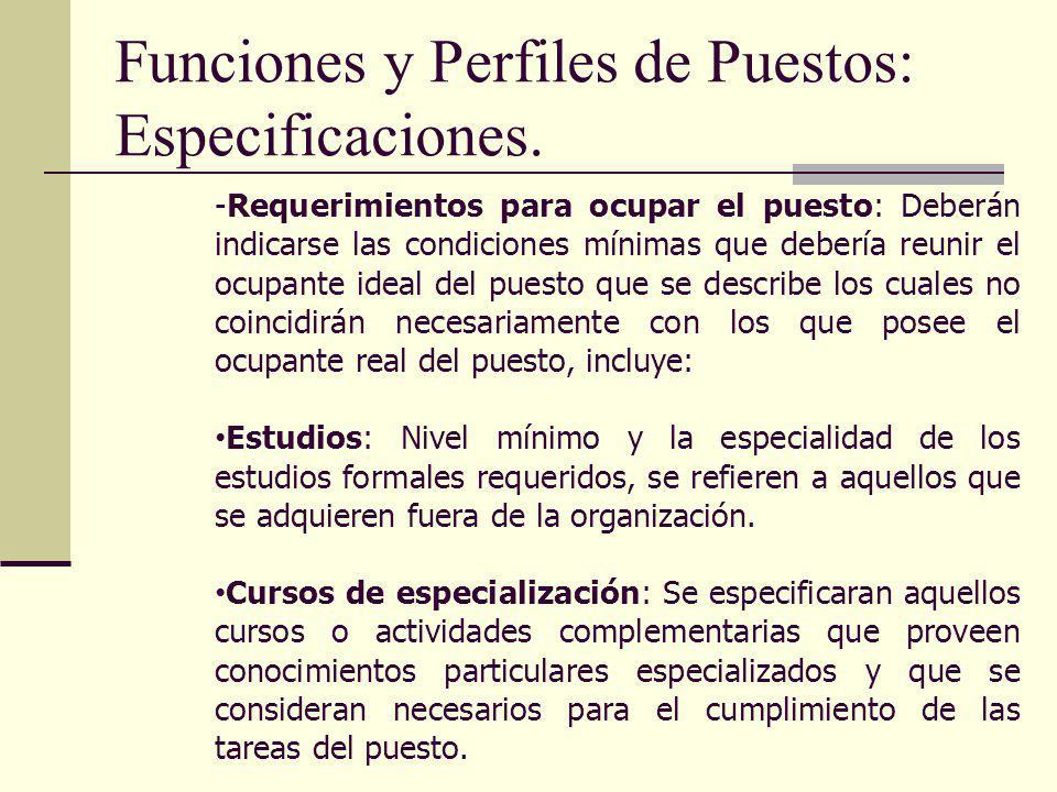 Funciones y Perfiles de Puestos: Especificaciones. -Requerimientos para ocupar el puesto: Deberán indicarse las condiciones mínimas que debería reunir