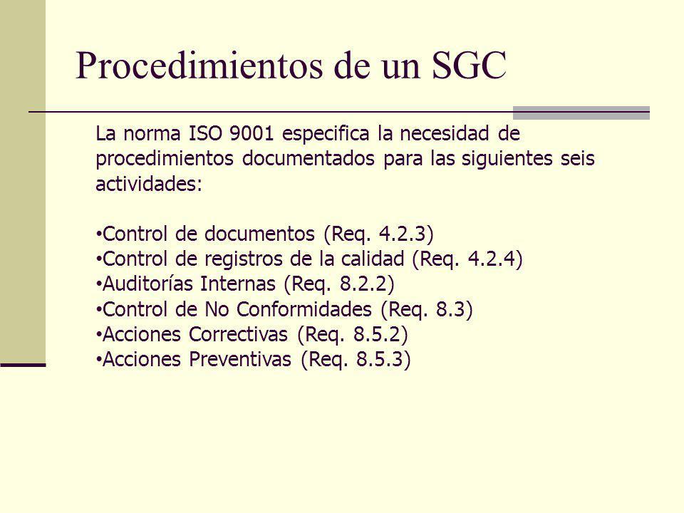 Procedimientos de un SGC La norma ISO 9001 especifica la necesidad de procedimientos documentados para las siguientes seis actividades: Control de doc