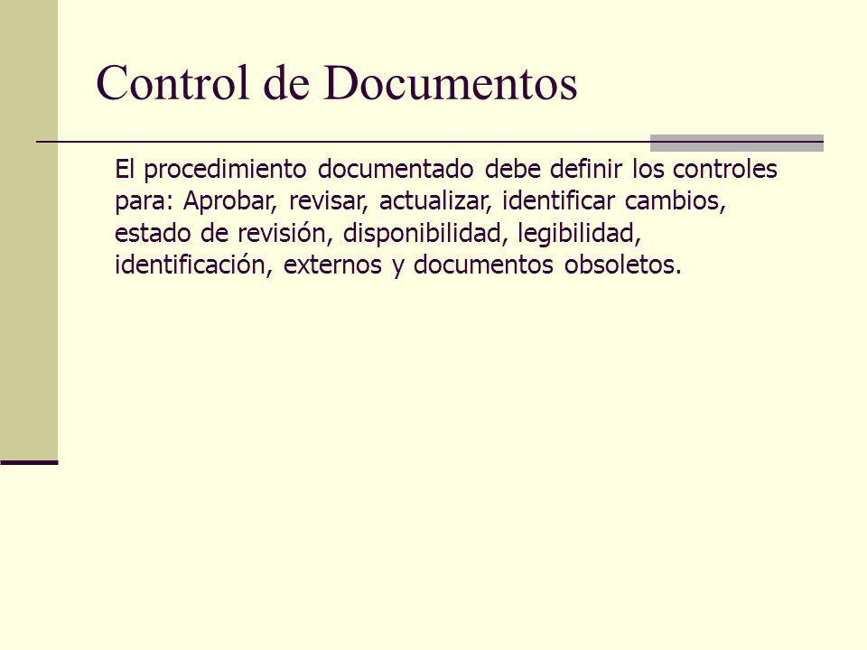 Control de Documentos El procedimiento documentado debe definir los controles para: Aprobar, revisar, actualizar, identificar cambios, estado de revis