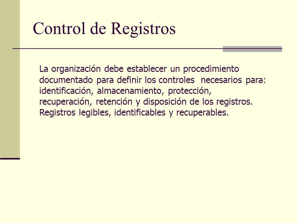 Control de Registros La organización debe establecer un procedimiento documentado para definir los controles necesarios para: identificación, almacena