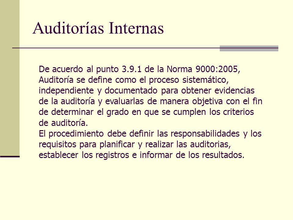 Auditorías Internas De acuerdo al punto 3.9.1 de la Norma 9000:2005, Auditoría se define como el proceso sistemático, independiente y documentado para