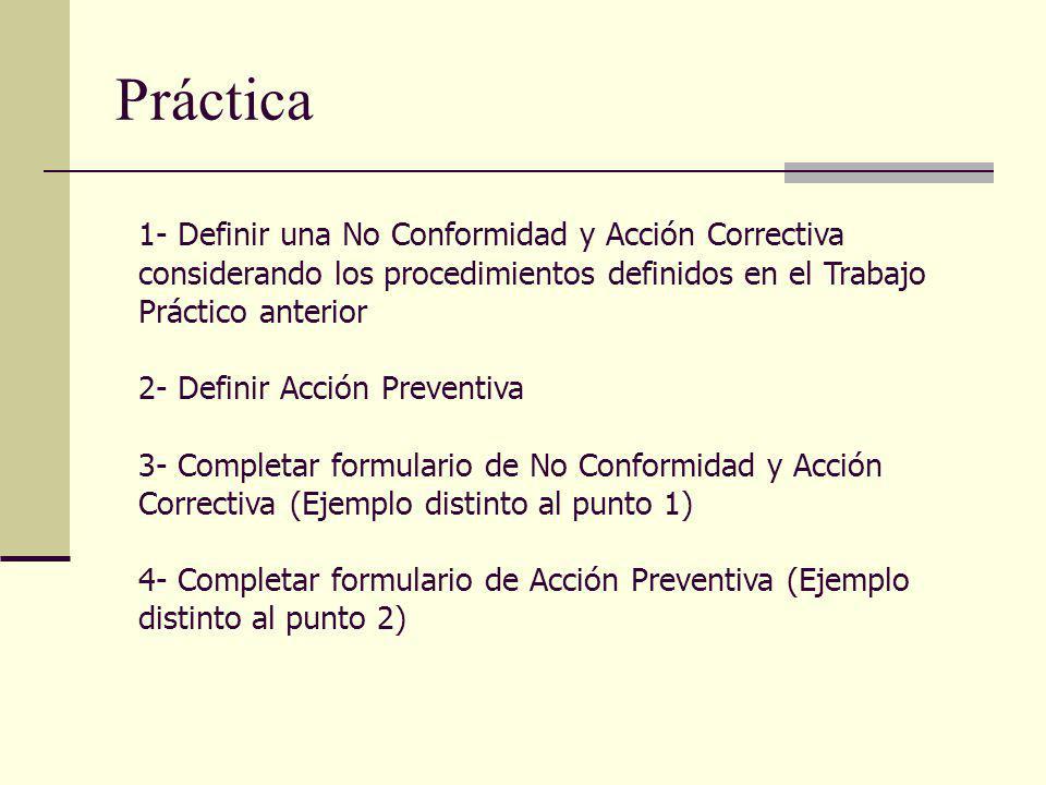 Práctica 1- Definir una No Conformidad y Acción Correctiva considerando los procedimientos definidos en el Trabajo Práctico anterior 2- Definir Acción