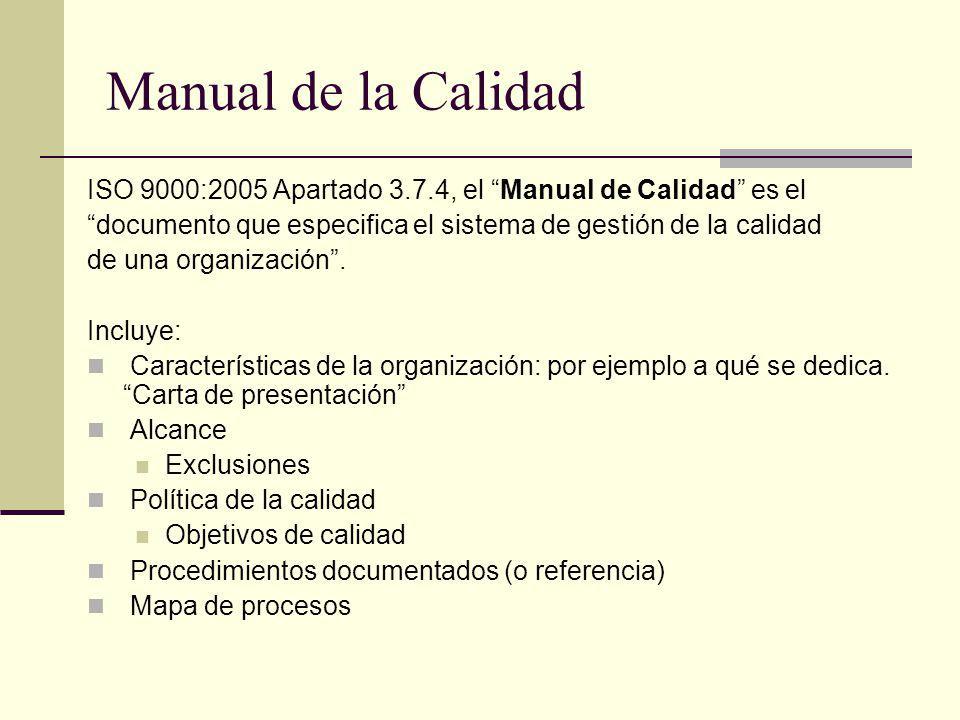 Manual de la Calidad ISO 9000:2005 Apartado 3.7.4, el Manual de Calidad es el documento que especifica el sistema de gestión de la calidad de una orga