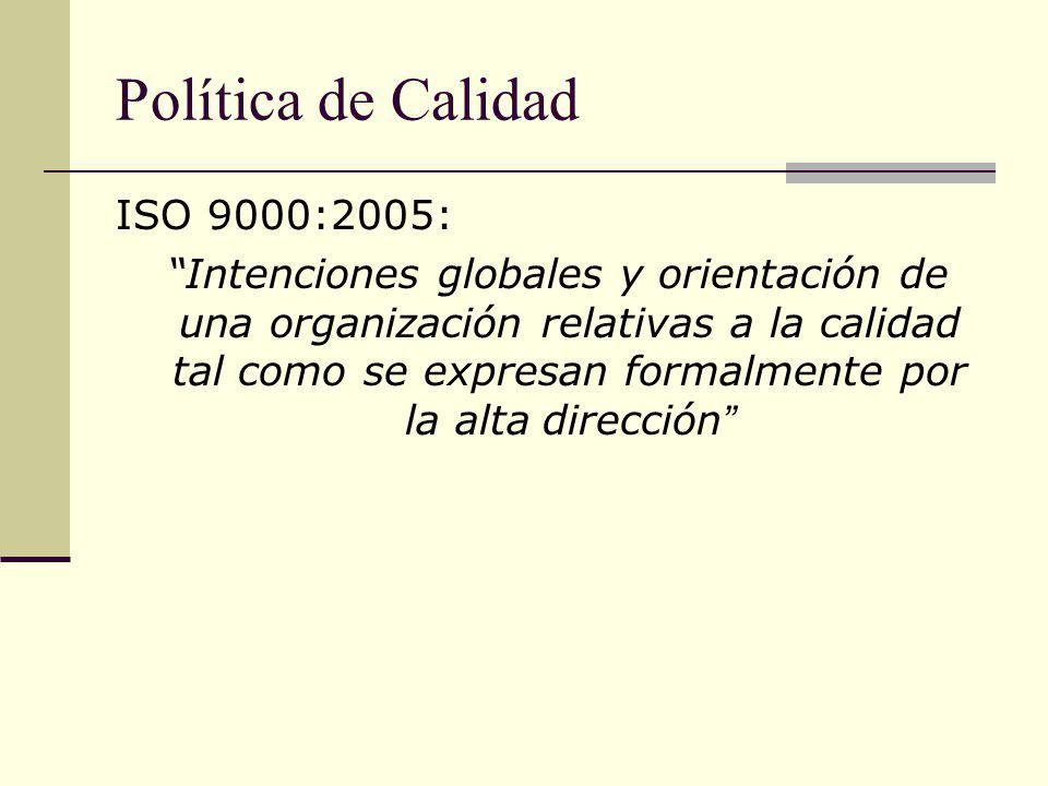Política de Calidad ISO 9000:2005: Intenciones globales y orientación de una organización relativas a la calidad tal como se expresan formalmente por