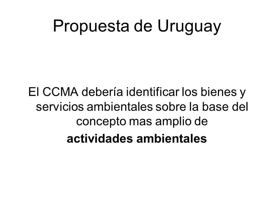 Actividades ambientales consistirían en aquellas actividades enmarcadas dentro de algún AMUMA a través de: el reconocimiento de las metodologías o de la aprobación de proyectos conexos Propuesta de Uruguay