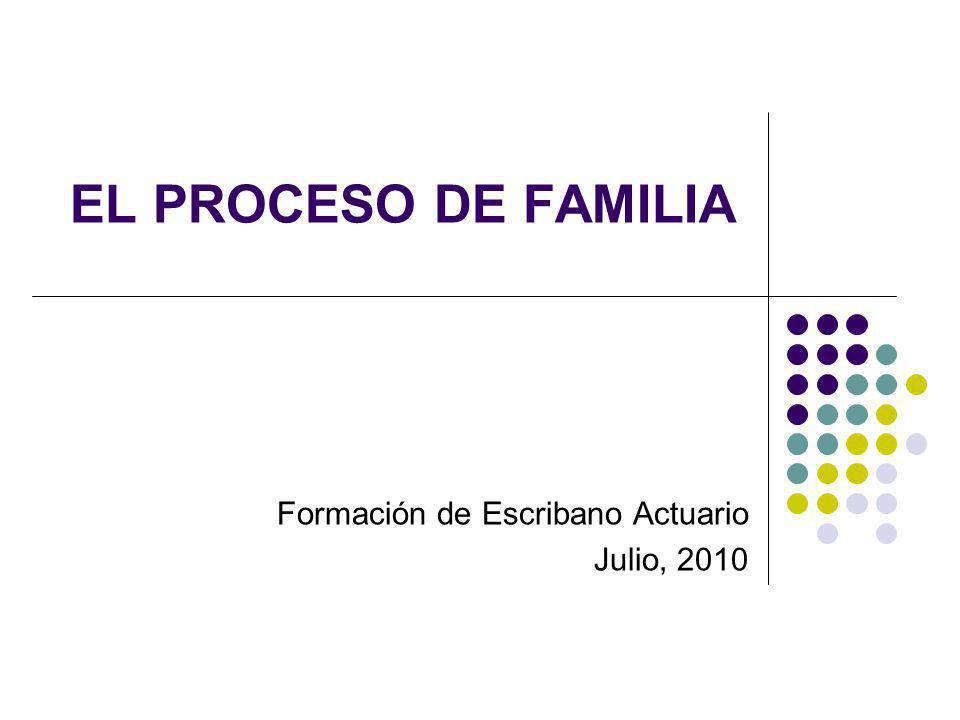 EL PROCESO DE FAMILIA Formación de Escribano Actuario Julio, 2010