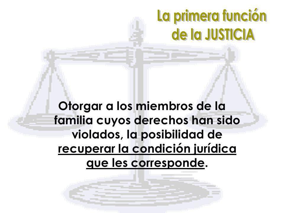 Otorgar a los miembros de la familia cuyos derechos han sido violados, la posibilidad de recuperar la condición jurídica que les corresponde.