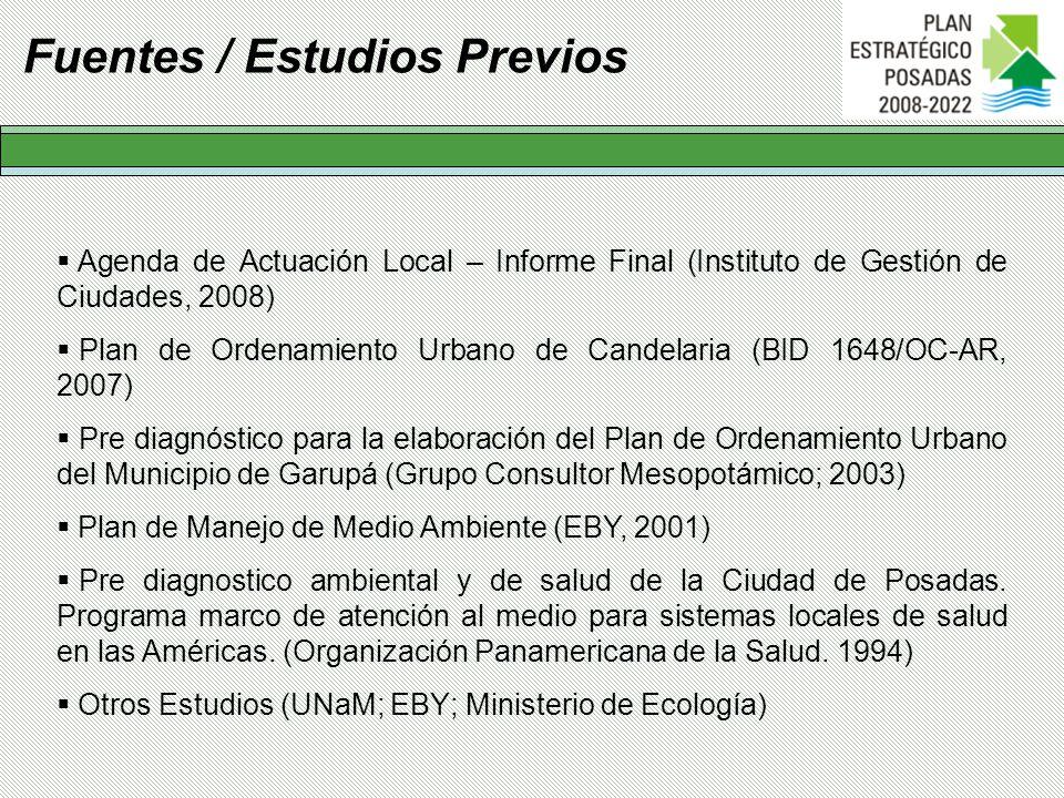 Agenda de Actuación Local – Informe Final (Instituto de Gestión de Ciudades, 2008) Plan de Ordenamiento Urbano de Candelaria (BID 1648/OC-AR, 2007) Pr