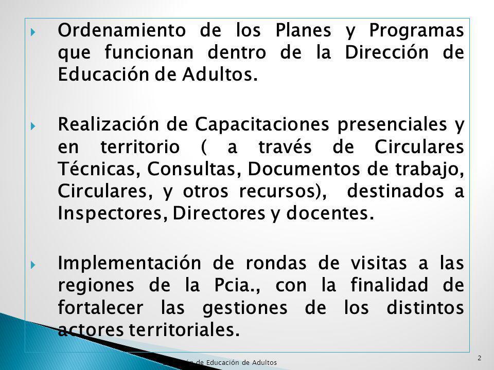 Ordenamiento de los Planes y Programas que funcionan dentro de la Dirección de Educación de Adultos.