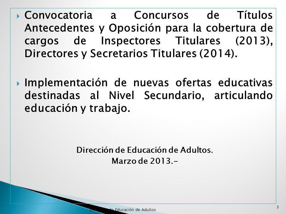 Convocatoria a Concursos de Títulos Antecedentes y Oposición para la cobertura de cargos de Inspectores Titulares (2013), Directores y Secretarios Titulares (2014).