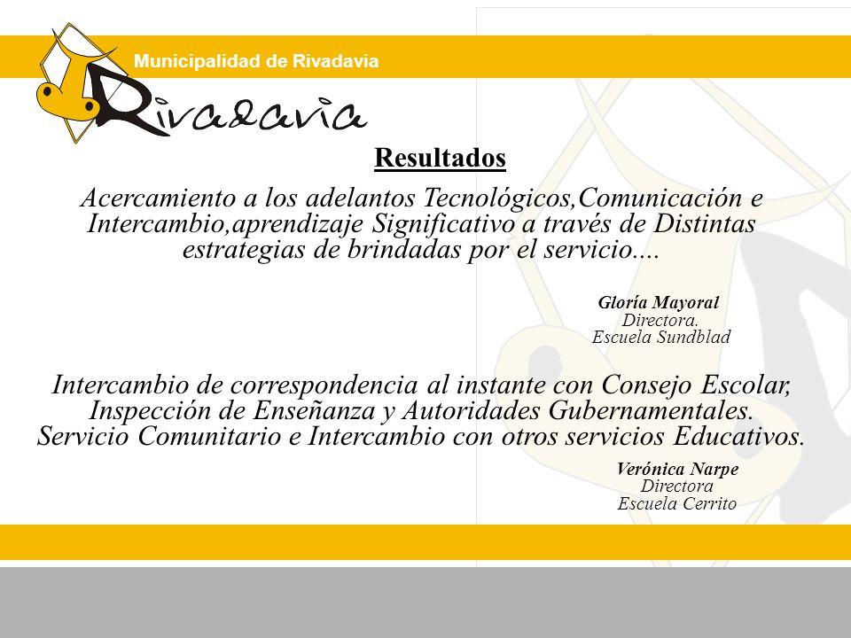 Municipalidad de Rivadavia Resultados Acercamiento a los adelantos Tecnológicos,Comunicación e Intercambio,aprendizaje Significativo a través de Distintas estrategias de brindadas por el servicio....