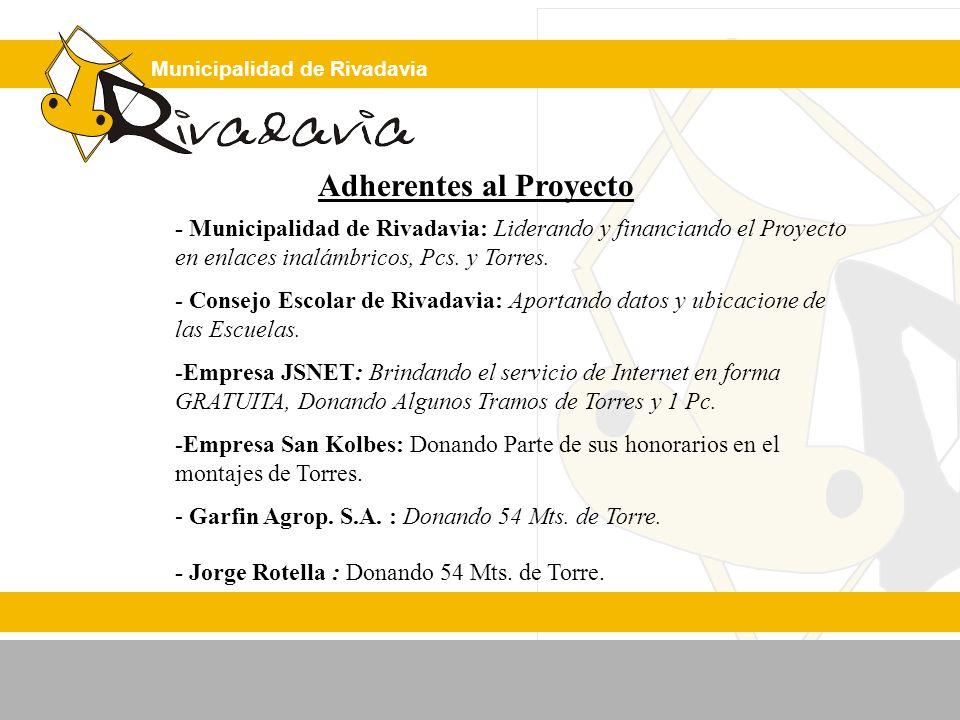 Municipalidad de Rivadavia Adherentes al Proyecto - Municipalidad de Rivadavia: Liderando y financiando el Proyecto en enlaces inalámbricos, Pcs.