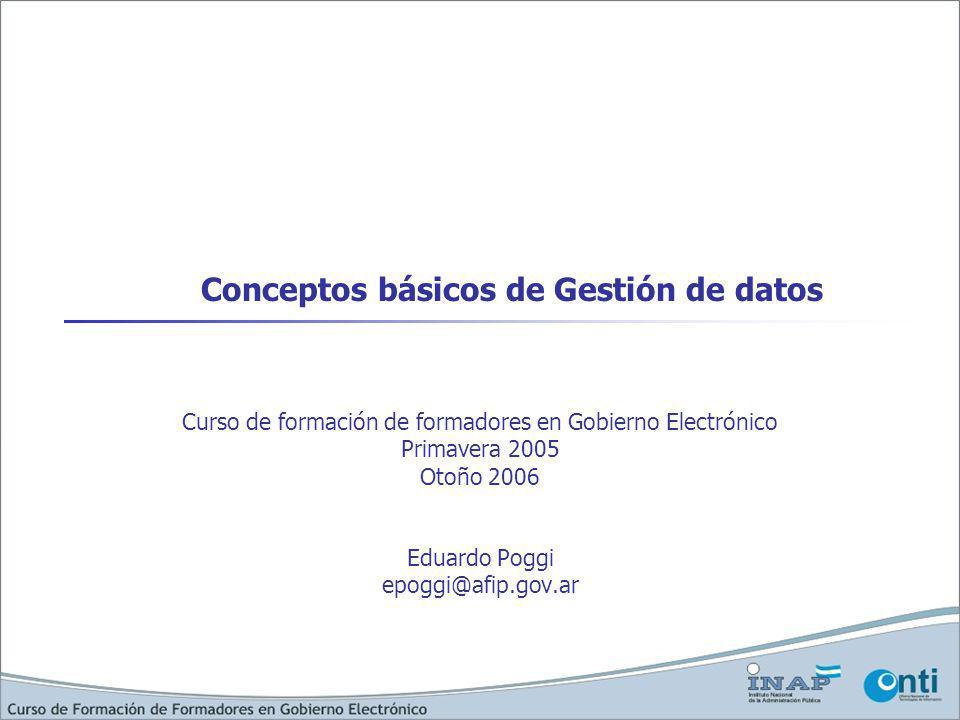 Conceptos básicos de Gestión de datos Curso de formación de formadores en Gobierno Electrónico Primavera 2005 Otoño 2006 Eduardo Poggi epoggi@afip.gov.ar