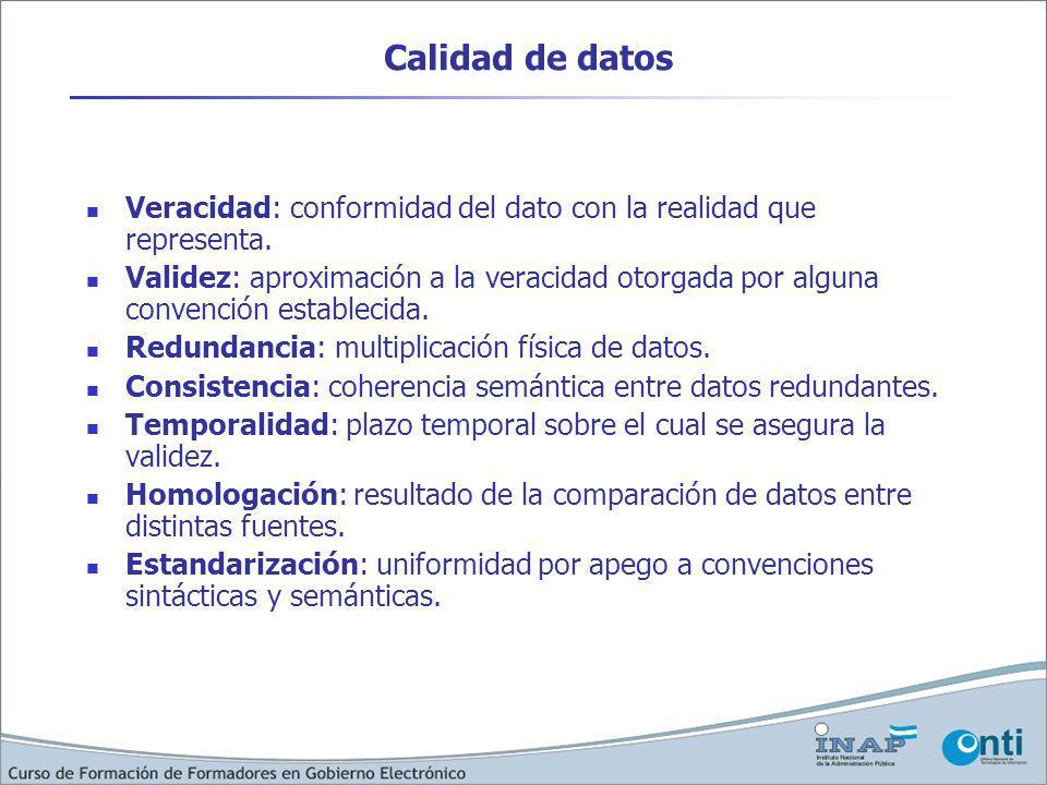 Calidad de datos Veracidad: conformidad del dato con la realidad que representa.