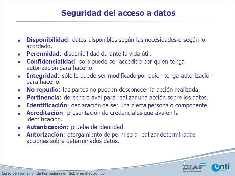 Seguridad del acceso a datos Disponibilidad: datos disponibles según las necesidades o según lo acordado. Perennidad: disponibilidad durante la vida ú