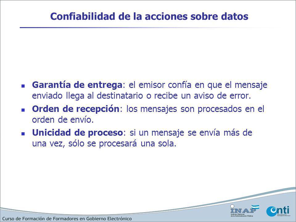 Confiabilidad de la acciones sobre datos Garantía de entrega: el emisor confía en que el mensaje enviado llega al destinatario o recibe un aviso de error.