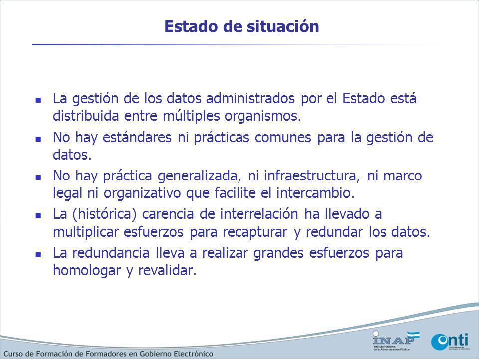 La gestión de los datos administrados por el Estado está distribuida entre múltiples organismos. No hay estándares ni prácticas comunes para la gestió