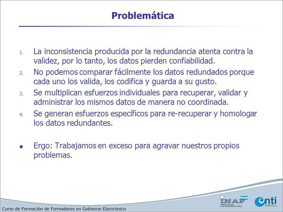 Problemática 1. La inconsistencia producida por la redundancia atenta contra la validez, por lo tanto, los datos pierden confiabilidad. 2. No podemos