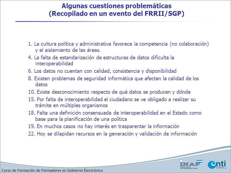 Algunas cuestiones problemáticas (Recopilado en un evento del FRRII/SGP) 1.