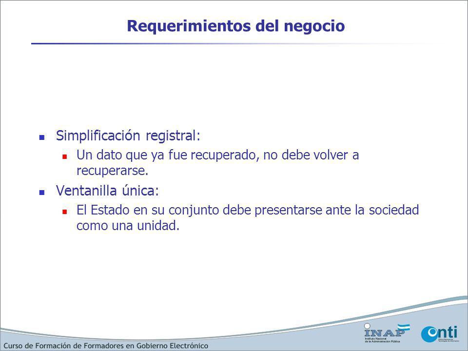 Requerimientos del negocio Simplificación registral: Un dato que ya fue recuperado, no debe volver a recuperarse. Ventanilla única: El Estado en su co