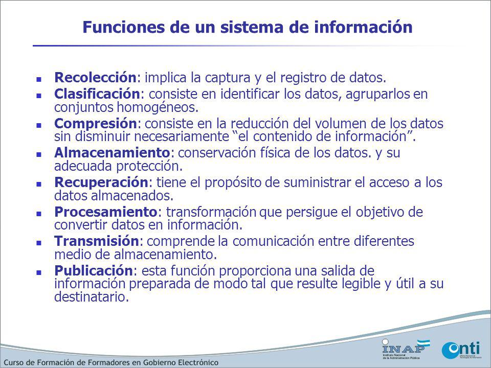 Funciones de un sistema de información Recolección: implica la captura y el registro de datos. Clasificación: consiste en identificar los datos, agrup