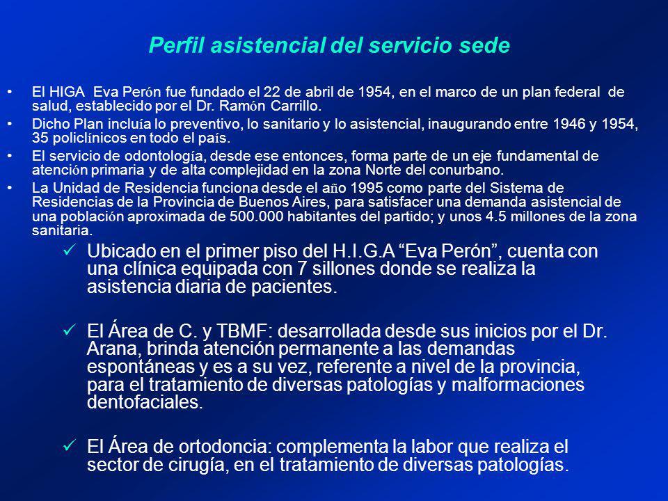 Perfil asistencial del servicio sede En una síntesis deberán consignarse los datos que se consideren importantes para el postulante.