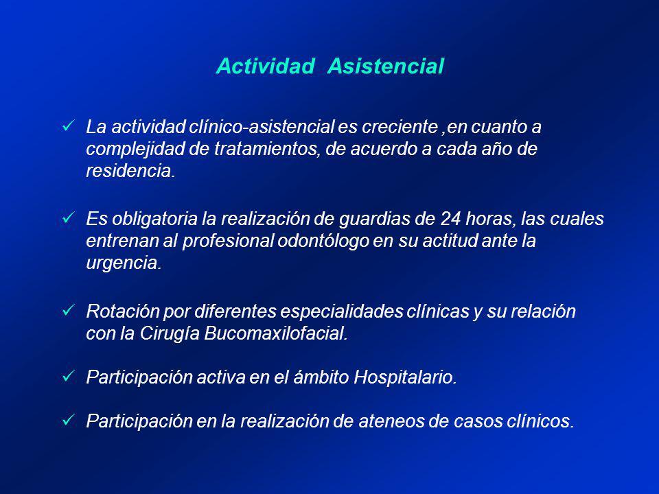 Actividad Asistencial Describir brevemente las actividades que realizan los residentes, incluyendo guardias, progresión de las actividades asistenciales y modos de supervisión, destacando el personal que acompañará a los residentes para el cumplimiento de la reglamentación vigente.