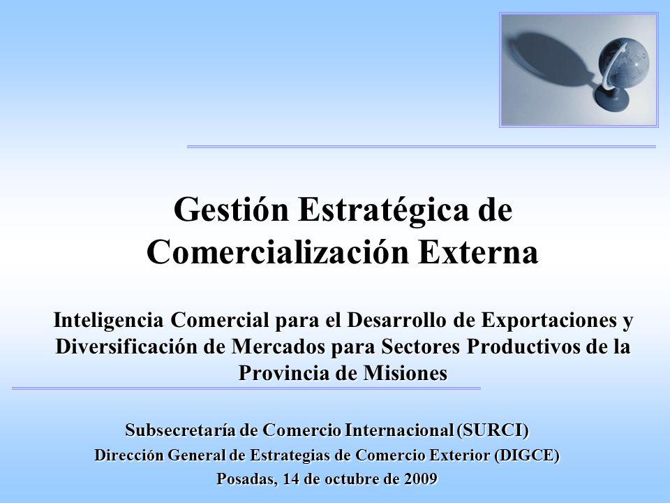 Gestión Estratégica de Comercialización Externa Inteligencia Comercial para el Desarrollo de Exportaciones y Diversificación de Mercados para Sectores Productivos de la Provincia de Misiones Subsecretaría de Comercio Internacional (SURCI) Dirección General de Estrategias de Comercio Exterior (DIGCE) Posadas, 14 de octubre de 2009