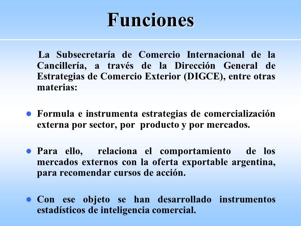 Funciones La Subsecretaría de Comercio Internacional de la Cancillería, a través de la Dirección General de Estrategias de Comercio Exterior (DIGCE), entre otras materias: Formula e instrumenta estrategias de comercialización externa por sector, por producto y por mercados.