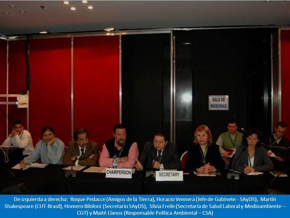 Se hicieron presentes la CGT y la CTA de Argentina, la CEOSL de Ecuador, la CUT de Brasil, la Confederación Sindical de las Américas, y representantes de los ONGs, que colmaron la sala.