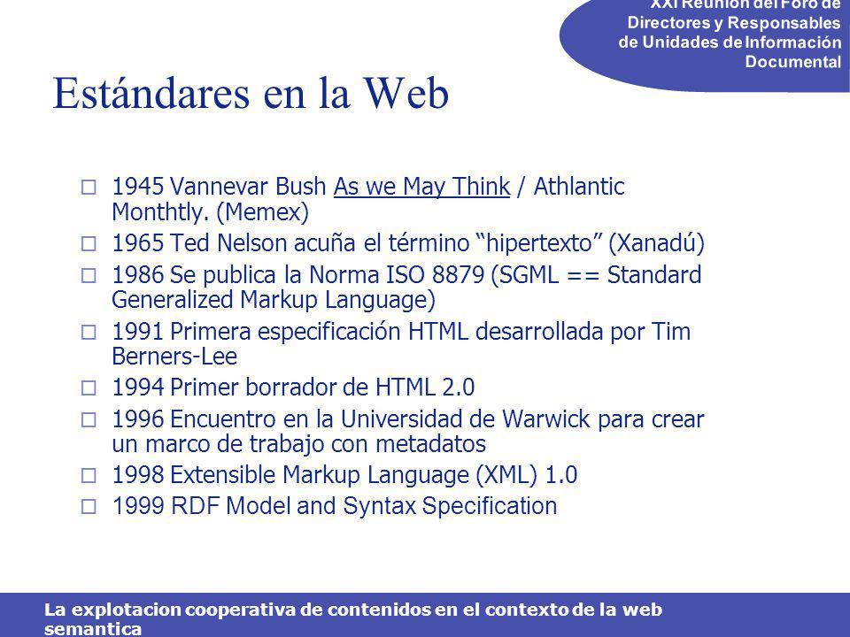 XXI Reunión del Foro de Directores y Responsables de Unidades de Información Documental La explotacion cooperativa de contenidos en el contexto de la web semantica Estándares en la Web 1945 Vannevar Bush As we May Think / Athlantic Monthtly.