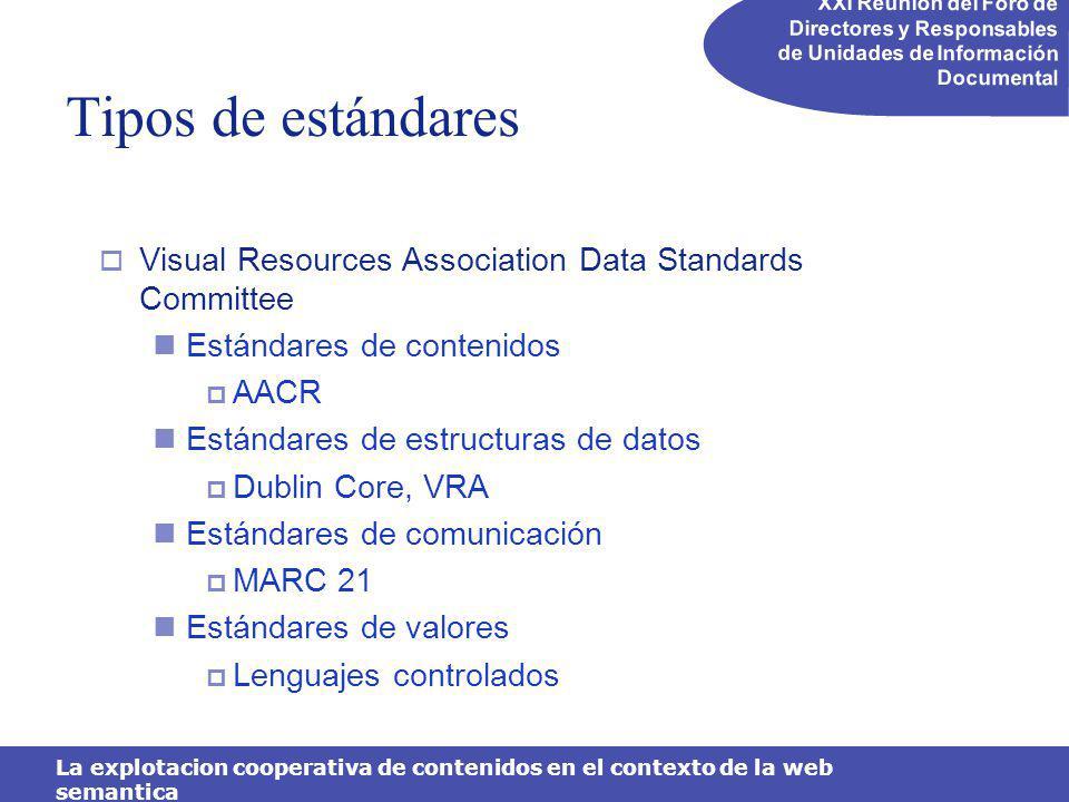 XXI Reunión del Foro de Directores y Responsables de Unidades de Información Documental La explotacion cooperativa de contenidos en el contexto de la web semantica Mapa de lenguajes de metadatos RDF, XML, DCMI, SVG, DALM, OIL, OWL, SOAP,WSDL http://mapageweb.umontreal.ca/turner/meta/english/metamap.html