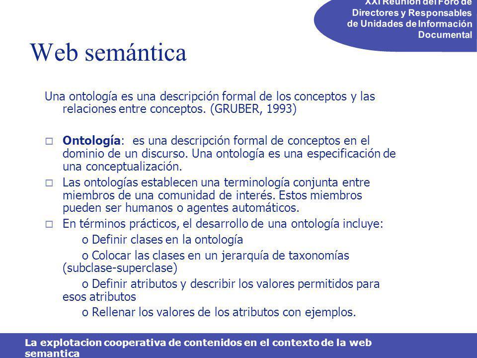 XXI Reunión del Foro de Directores y Responsables de Unidades de Información Documental La explotacion cooperativa de contenidos en el contexto de la web semantica Ejemplos de explotación colaborativa basadas en metadatos Ejemplos: http://del.icio.us/tag/ http://www.flickr.com/photos/tags/ http://www.technorati.com/tag/ http://www.metafilter.com/tags.mefi http://www.43things.com/ http://www.citeulike.org/tag/