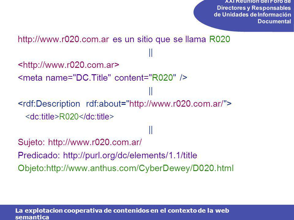 XXI Reunión del Foro de Directores y Responsables de Unidades de Información Documental La explotacion cooperativa de contenidos en el contexto de la web semantica http://www.r020.com.ar es un sitio que se llama R020 || || R020 || Sujeto: http://www.r020.com.ar/ Predicado: http://purl.org/dc/elements/1.1/title Objeto:http://www.anthus.com/CyberDewey/D020.html