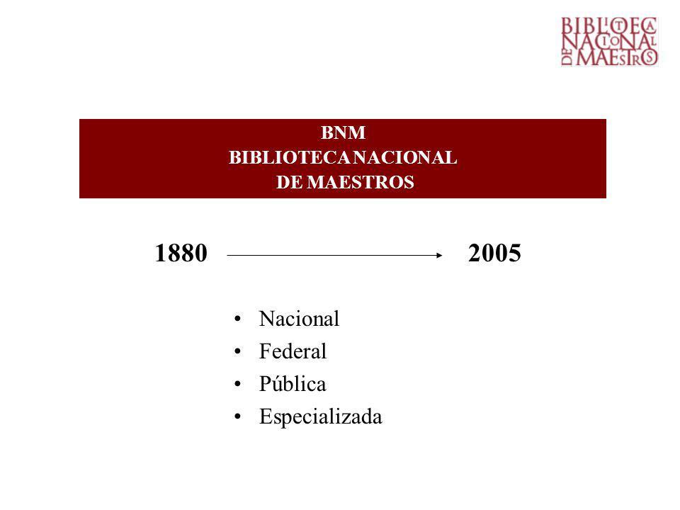 BNM BIBLIOTECA NACIONAL DE MAESTROS 1880 2005 Nacional Federal Pública Especializada