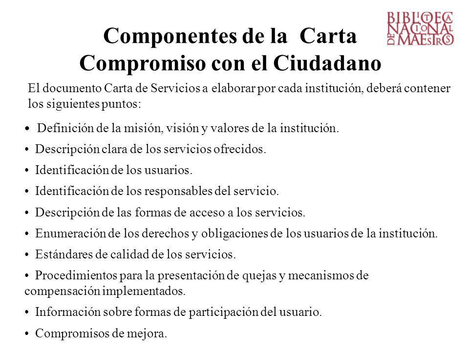 Componentes de la Carta Compromiso con el Ciudadano Definición de la misión, visión y valores de la institución.