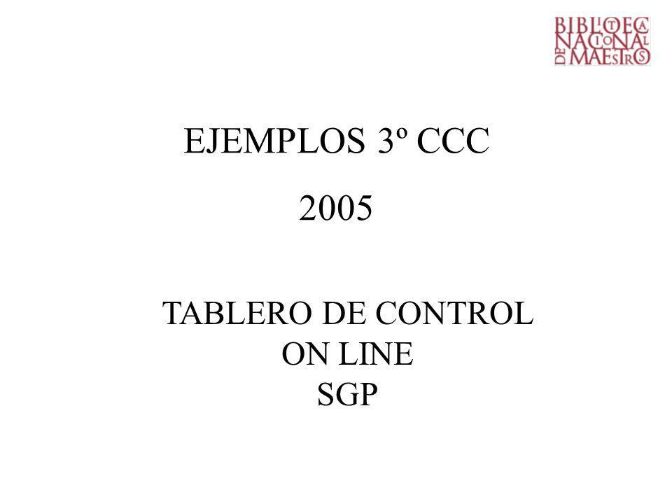 EJEMPLOS 3º CCC 2005 TABLERO DE CONTROL ON LINE SGP
