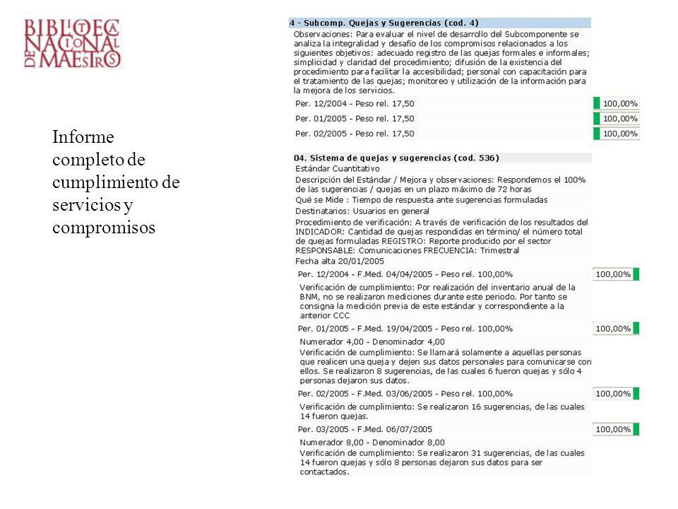 Informe completo de cumplimiento de servicios y compromisos