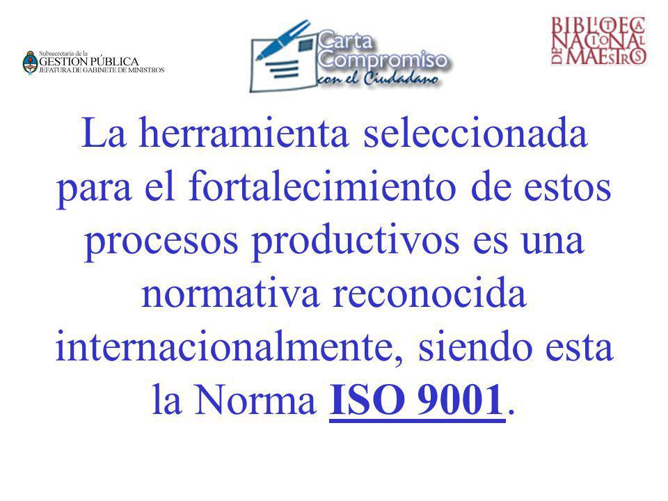 La herramienta seleccionada para el fortalecimiento de estos procesos productivos es una normativa reconocida internacionalmente, siendo esta la Norma ISO 9001.