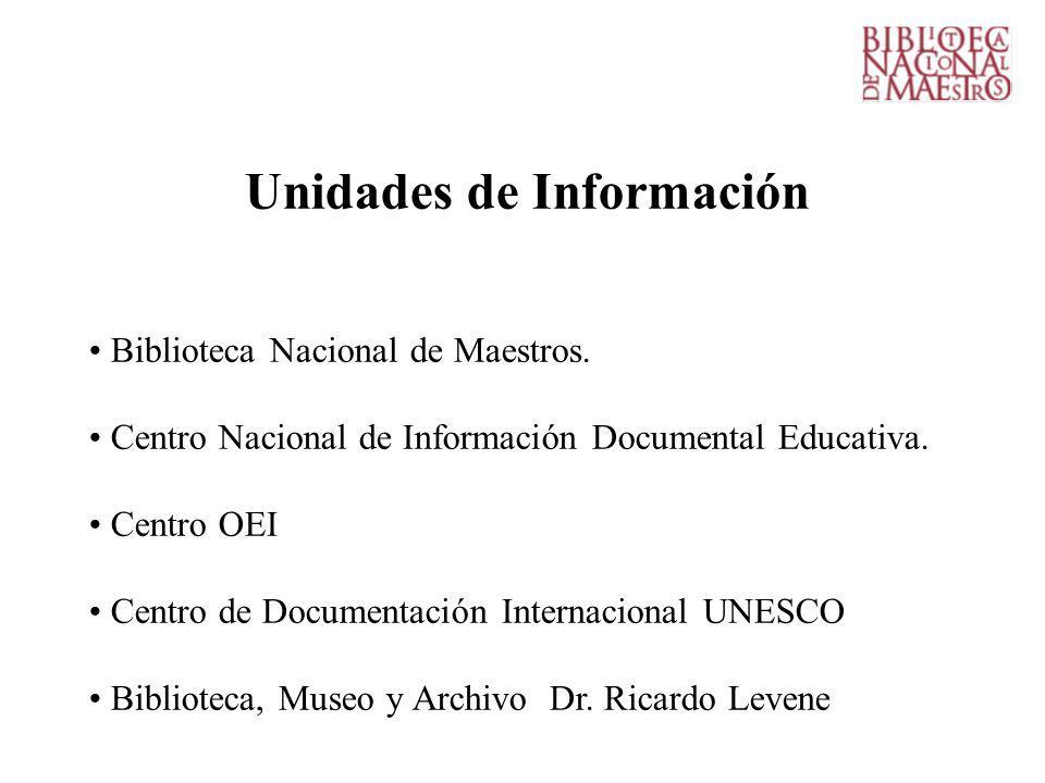 Unidades de Información Biblioteca Nacional de Maestros.