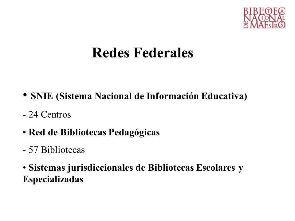 Redes Federales SNIE (Sistema Nacional de Información Educativa) - 24 Centros Red de Bibliotecas Pedagógicas - 57 Bibliotecas Sistemas jurisdiccionales de Bibliotecas Escolares y Especializadas