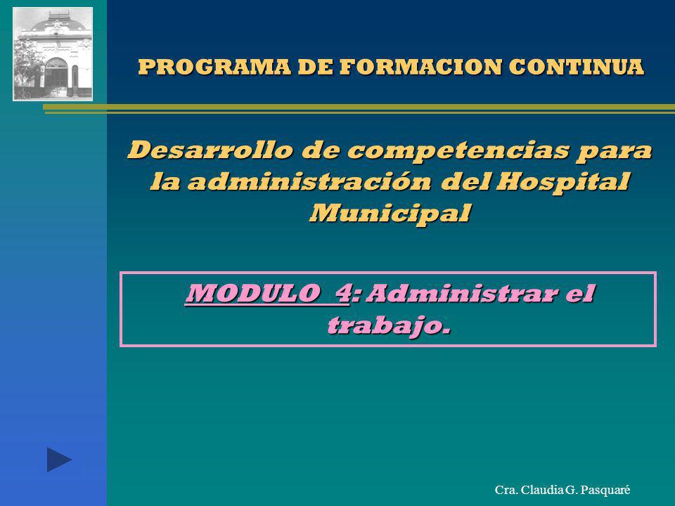 Cra. Claudia G. Pasquaré PROGRAMA DE FORMACION CONTINUA PROGRAMA DE FORMACION CONTINUA Desarrollo de competencias para la administración del Hospital