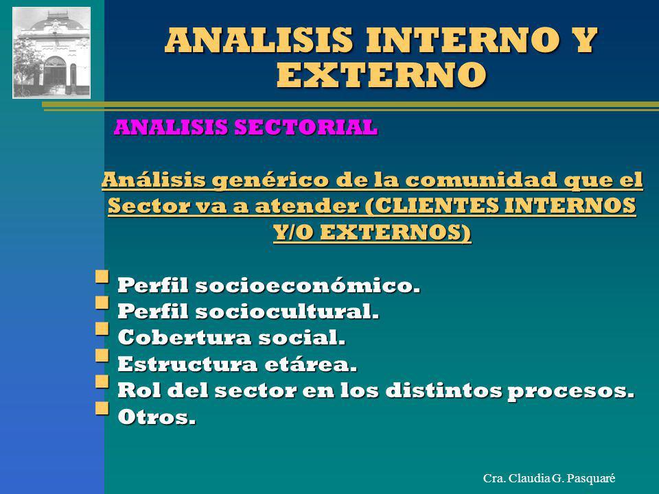 Cra. Claudia G. Pasquaré ANALISIS INTERNO Y EXTERNO ANALISIS SECTORIAL Análisis genérico de la comunidad que el Sector va a atender (CLIENTES INTERNOS