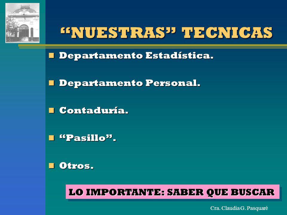 Cra. Claudia G. Pasquaré NUESTRAS TECNICAS Departamento Estadística. Departamento Estadística. Departamento Personal. Departamento Personal. Contadurí