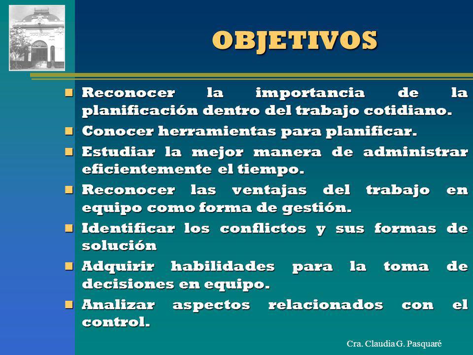 Cra. Claudia G. PasquaréOBJETIVOSOBJETIVOS Reconocer la importancia de la planificación dentro del trabajo cotidiano. Reconocer la importancia de la p